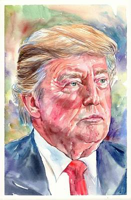 President Obama Wall Art - Painting - President Donald Trump Portrait by Suzann's Art