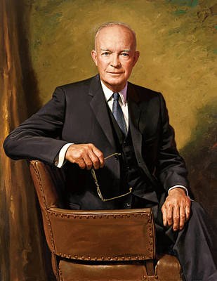 Landmarks Painting Royalty Free Images - President Dwight Eisenhower Painting Royalty-Free Image by War Is Hell Store