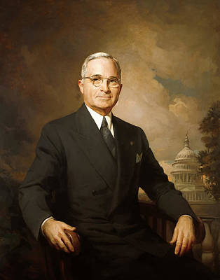Landmarks Painting Royalty Free Images - President Harry Truman Royalty-Free Image by War Is Hell Store
