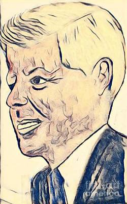 Drawing - President Kennedy by Manuel Matas
