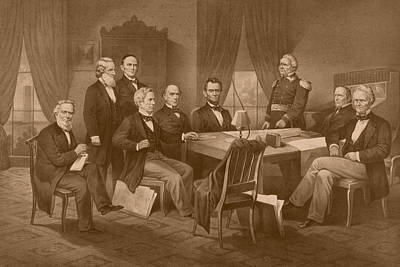 Abraham Lincoln Drawing - President Lincoln - His Cabinet And General Scott by War Is Hell Store