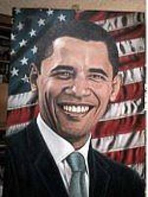 Barack Obama Oil Painting - President Obama by Trish Perrevos