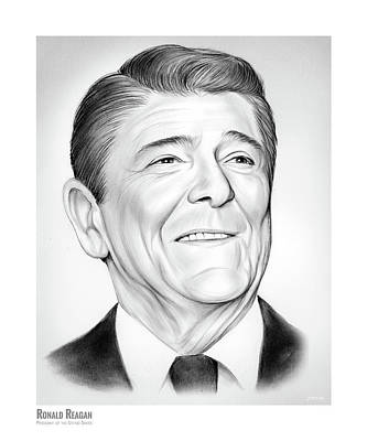 Drawing - President Ronald Reagan by Greg Joens