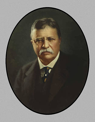 American Painting - President Theodore Roosevelt  by War Is Hell Store