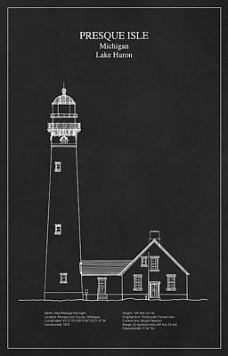Old Building Digital Art - Presque Isle Lighthouse - Michigan - Blueprint Drawing by Jose Elias - Sofia Pereira