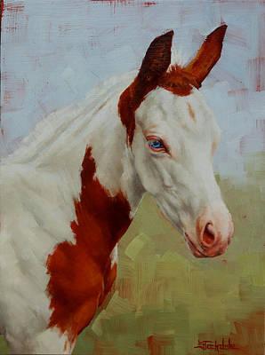Painting - Pretty Baby-paint Foal Portrait by Margaret Stockdale