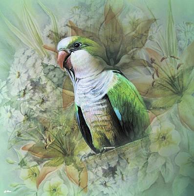 Parakeet Mixed Media - Pretty Birdie by G Berry
