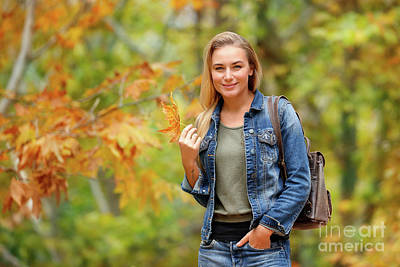 Photograph - Pretty Girl In Autumn Forest by Anna Om