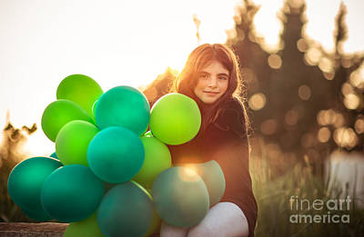 Photograph - Pretty Girl With Air Balloons by Anna Om