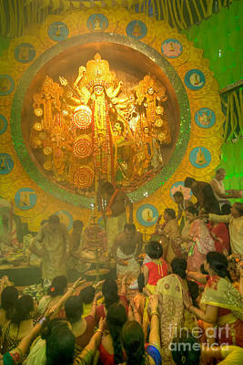 Goddess Durga Photograph - Priest Distributing Flowers For Praying To Goddess Durga, Durga Puja Festival, Kolkata, India by Rudra Narayan  Mitra