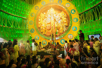 Durga Puja Photograph - Priests Praying To Goddess Durga Durga Puja Festival Celebration Kolkata India by Rudra Narayan  Mitra