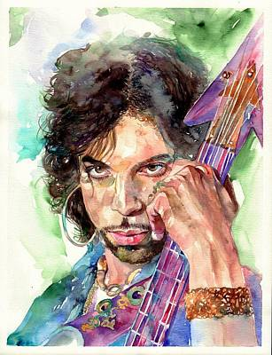 Song Wall Art - Painting - Prince Rogers Nelson Portrait by Suzann's Art