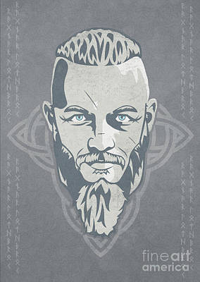 Warrior Mixed Media - Ragnar Lothbrok Vikings by Sinisa Kale