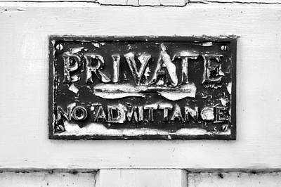 Private Sign Art Print by Tom Gowanlock