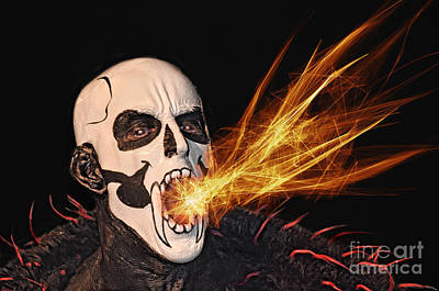 Digital Art - Pro Wrestler Funnybone Shooting Out Flames by Jim Fitzpatrick