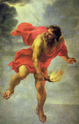 Torch Painting - Prometheus Carrying Fire by Jan Cossiers