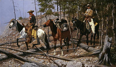 American Painters Painting - Prospecting For Cattle Range  by Frederic Remington