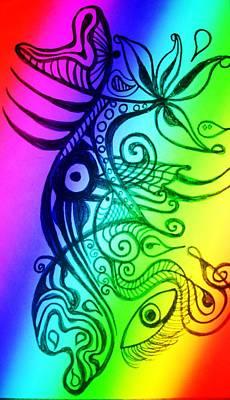 Digital Art - Psychedelic Jumpfish by Erika Swartzkopf
