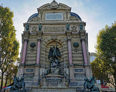Photograph - Public Fountain At Place St. Michel In Paris, France by Richard Rosenshein