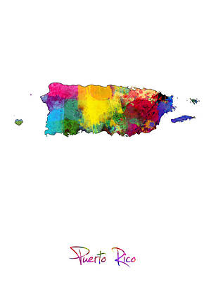 Puerto Wall Art - Digital Art - Puerto Rico Watercolor Map by Michael Tompsett
