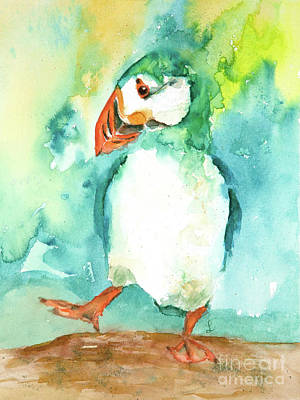 Painting - Puffin Performance by Lynne Furrer