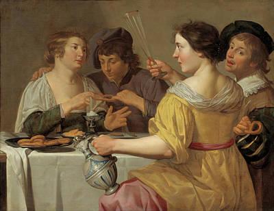 Engaged Painting - Pulling Of The Pretzel by Jan Van Bijlert