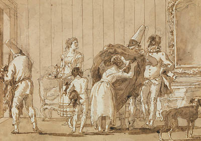 Drawing - Punchinello As A Dressmaker by Giovanni Domenico Tiepolo