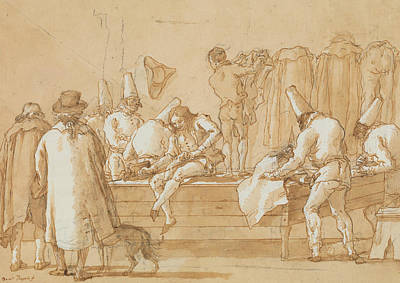 Drawing - Punchinello As Tailor's Assistant by Giovanni Domenico Tiepolo