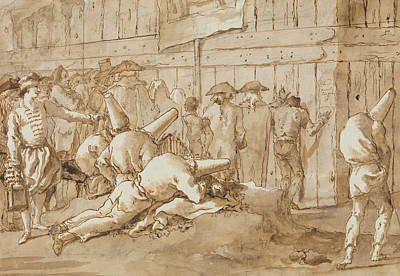Drawing - Punchinellos Outside A Circus by Giovanni Domenico Tiepolo