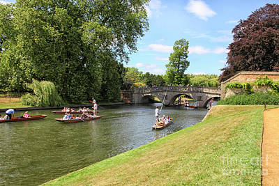 Photograph - Punter Boats On The Cam River In Cambridge by Patricia Hofmeester