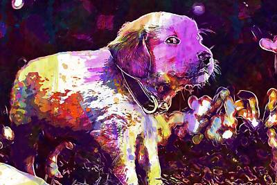 Digital Art - Puppies Dog Golden Retriever  by PixBreak Art