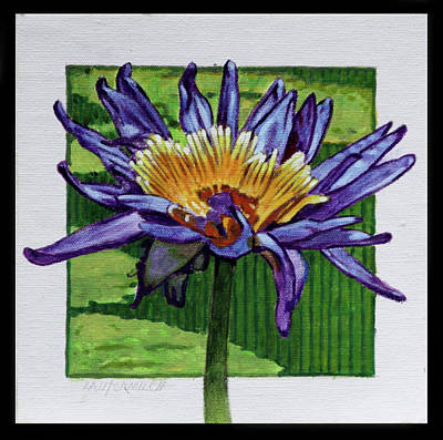 Flower Center Painting - Purple And Gold Lily by John Lautermilch