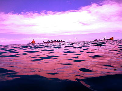 Canoe Digital Art - Purple Canoe Race by Erika Swartzkopf