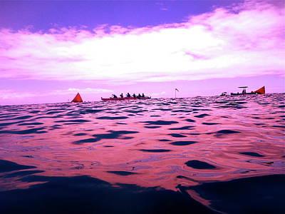 Digital Art - Purple Canoe Race by Erika Swartzkopf