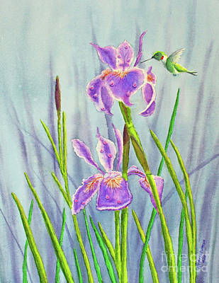 Iris Painting - Purple Dutch Iris And Hummer by Kathryn Duncan