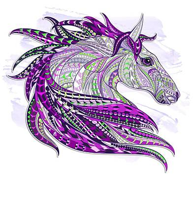 Painting - Purple Ethnic Horse by Aloke Creative Store