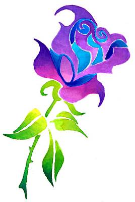 Watercolor Painting - Purple Rose by Sarah Krafft