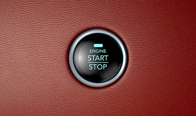 Push To Start Red Leather Button Art Print
