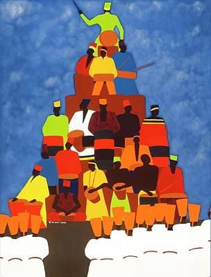 Painting - Pyramid Of African Drummers by Synthia SAINT JAMES