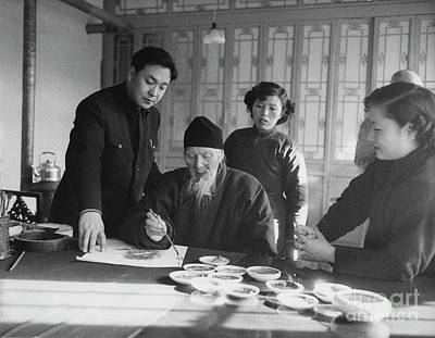 Asian Culture Photograph - Qi Baishi At Work In His Studio, January 1957. by The Harrington Collection