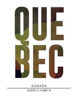 Mixed Media - Quebec, Canada - City Name Typography - Minimalist City Posters by Studio Grafiikka