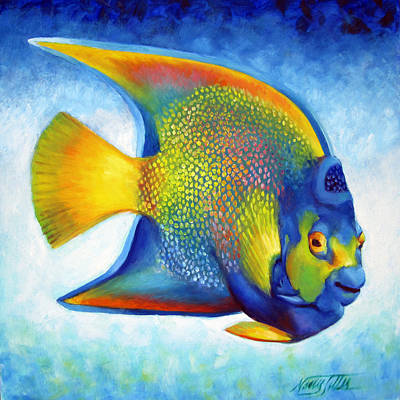 Golden Angelfish | Queen Angelfish Painting By Nancy Tilles