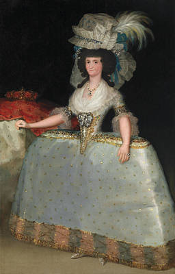 Ruler Painting - Queen Maria Luisa With A Bustle by Francisco Goya