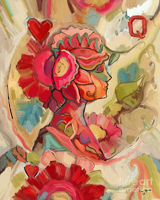 Lotus Leaves Painting - Queen Of Hearts by Carrie Joy Byrnes