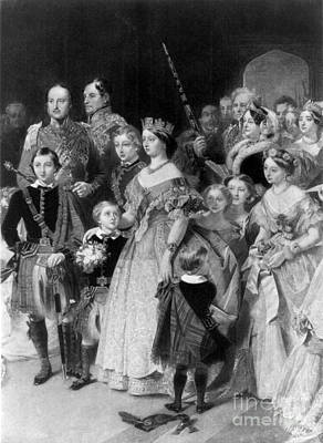 Queen Victoria With Members Of Royal Art Print