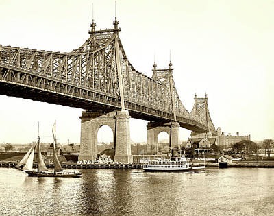 Queensboro Bridge - 1910 Art Print by L O C