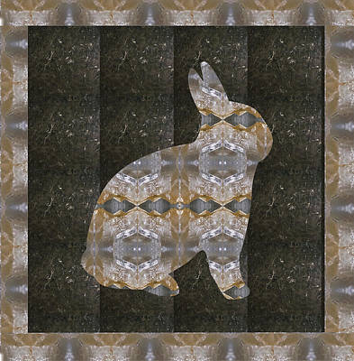 Mixed Media - Rabbit Bunny Khargosh Made Of Crystal Stone Leather Green Background Stitched Look by Navin Joshi
