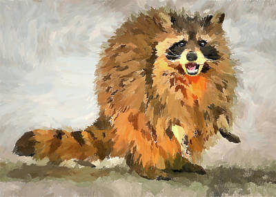 Digital Art - Raccoon by Yury Malkov