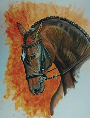 Race Horse Painting - Race Horse Study by Ramesh Mahalingam