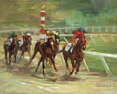 Sport Oil Painting - Race Horses by Laurie Hein